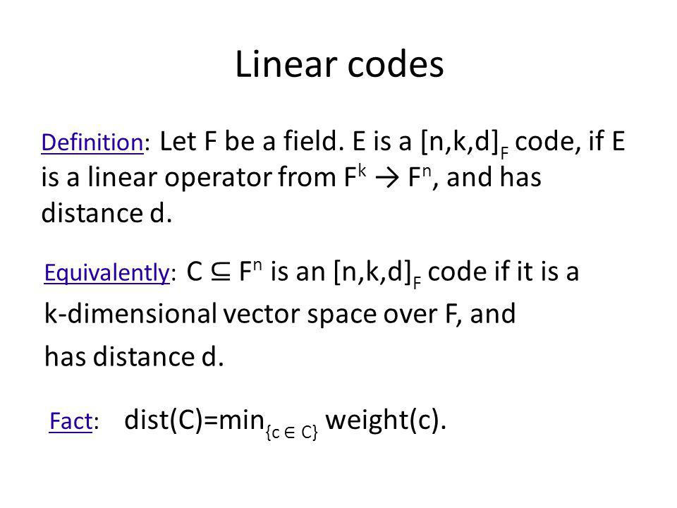 Linear codes k-dimensional vector space over F, and has distance d.