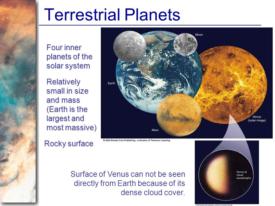 Terrestrial Planets Four inner planets of the solar system
