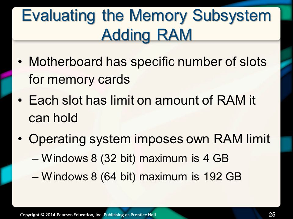 Evaluating the Memory Subsystem Adding RAM