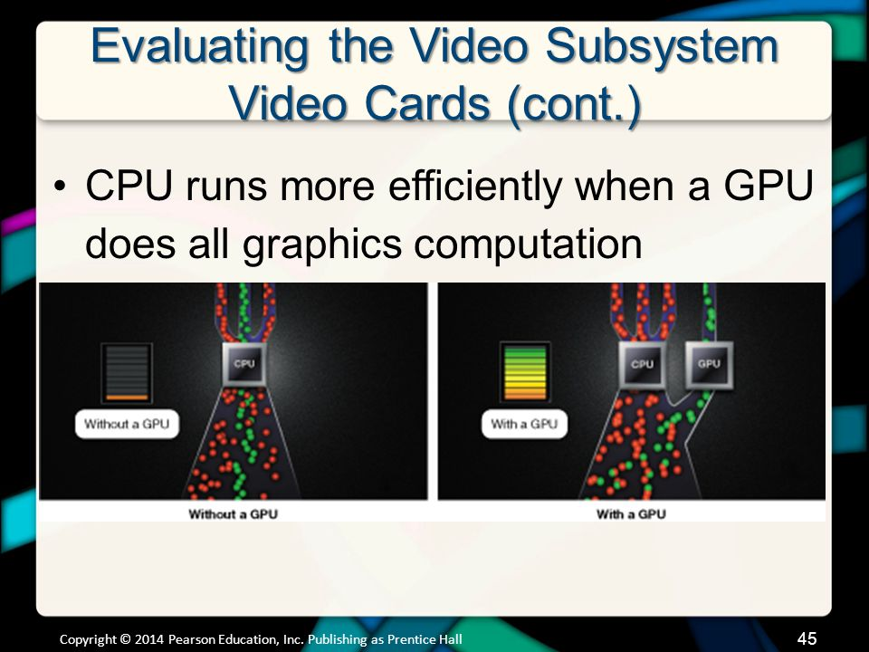 Evaluating the Video Subsystem Video Cards (cont.)