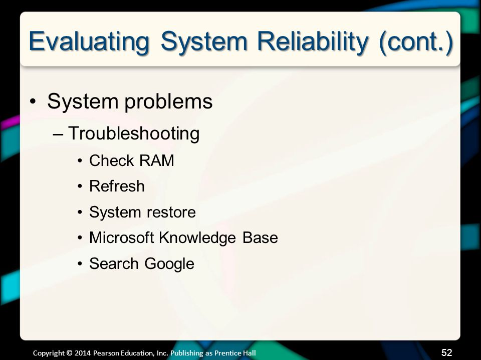 Evaluating System Reliability (cont.)