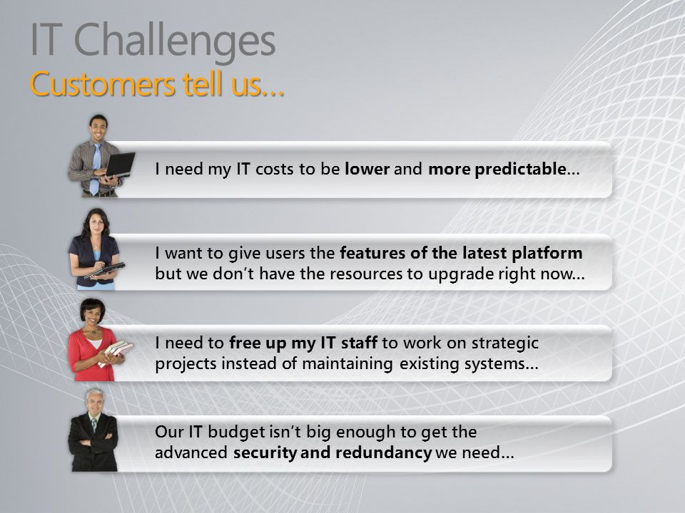 IT Challenges Customers tell us…