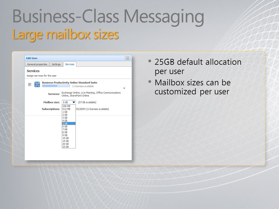 Business-Class Messaging Large mailbox sizes
