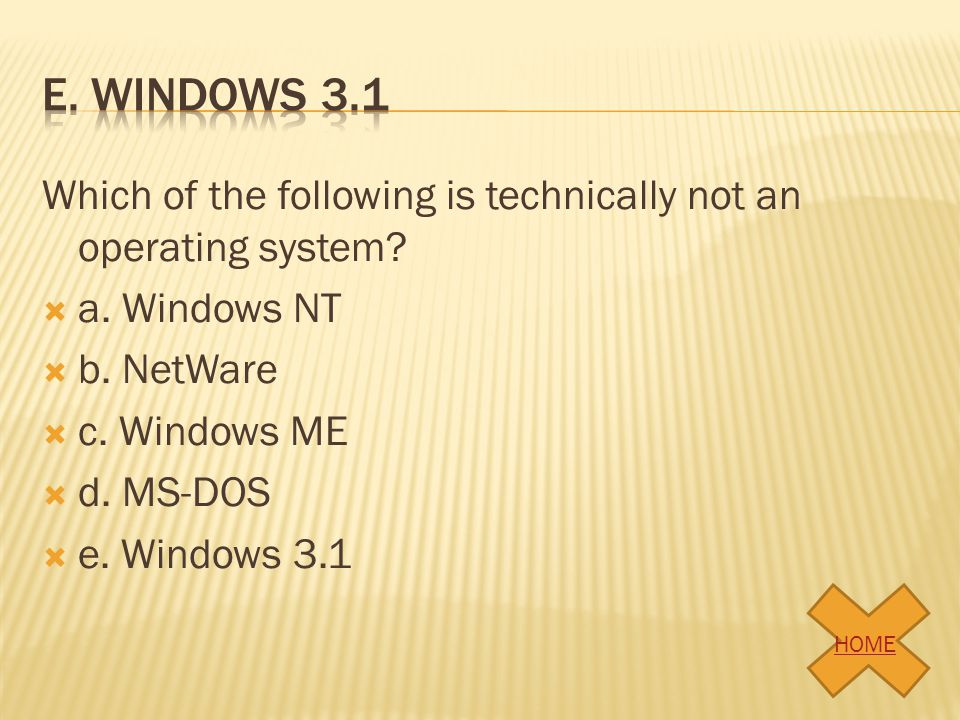 e. Windows 3.1 Which of the following is technically not an operating system a. Windows NT. b. NetWare.