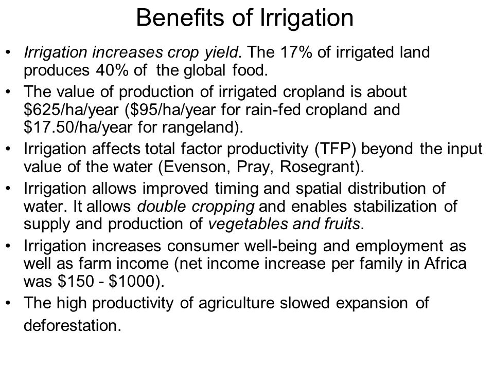 Benefits of Irrigation