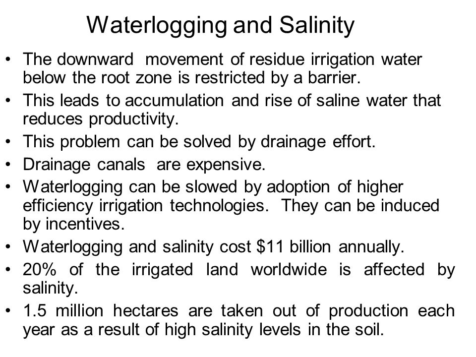 Waterlogging and Salinity