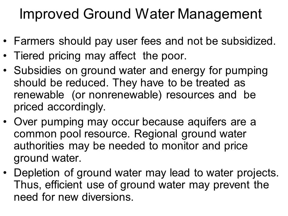Improved Ground Water Management