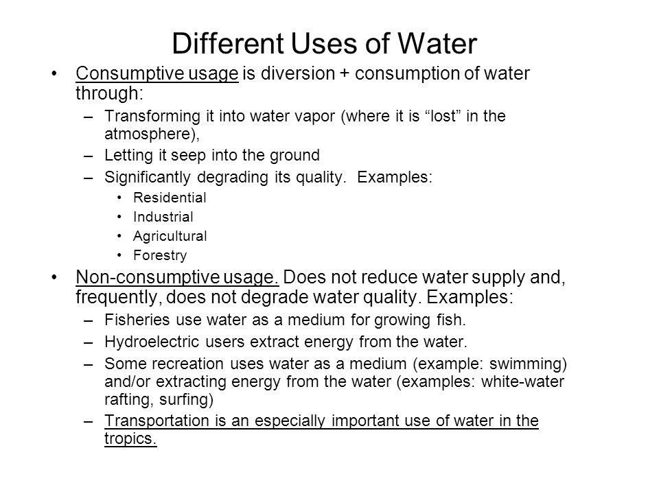 Different Uses of Water
