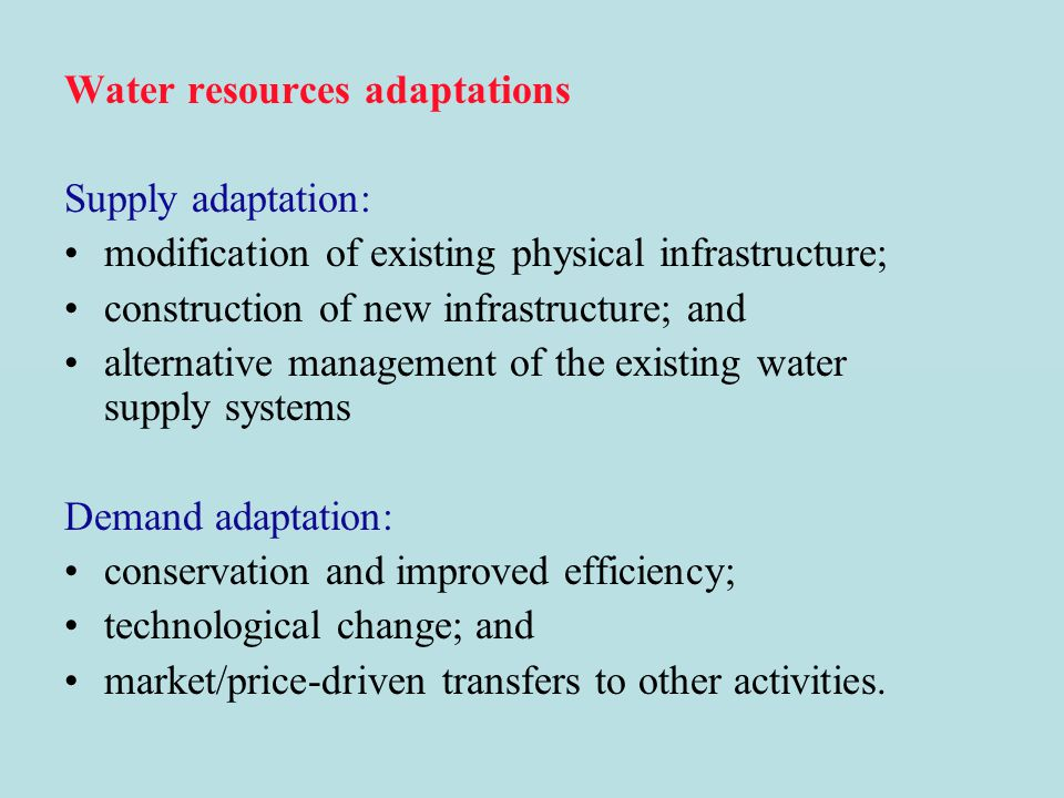 Water resources adaptations