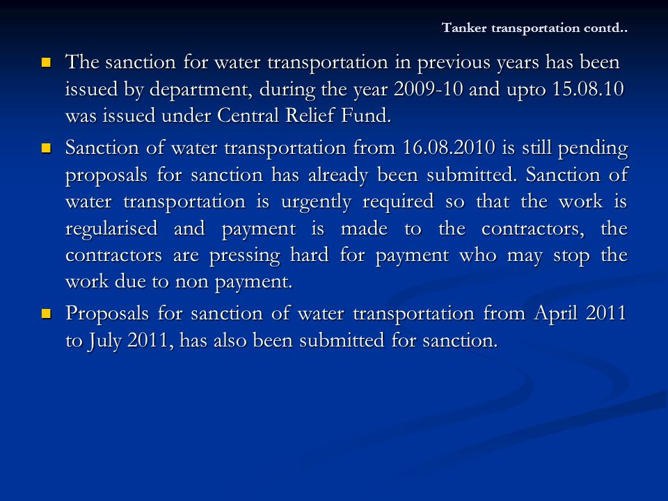 Tanker transportation contd..