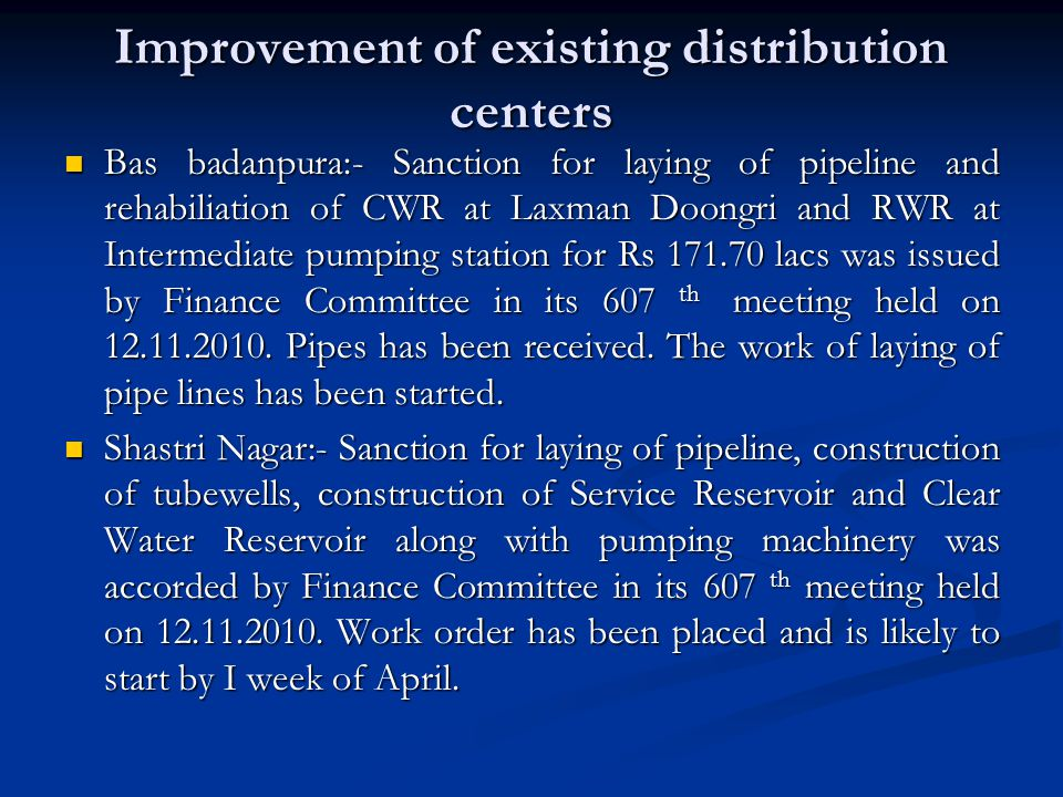 Improvement of existing distribution centers