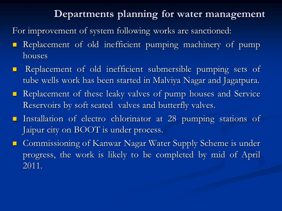 Departments planning for water management