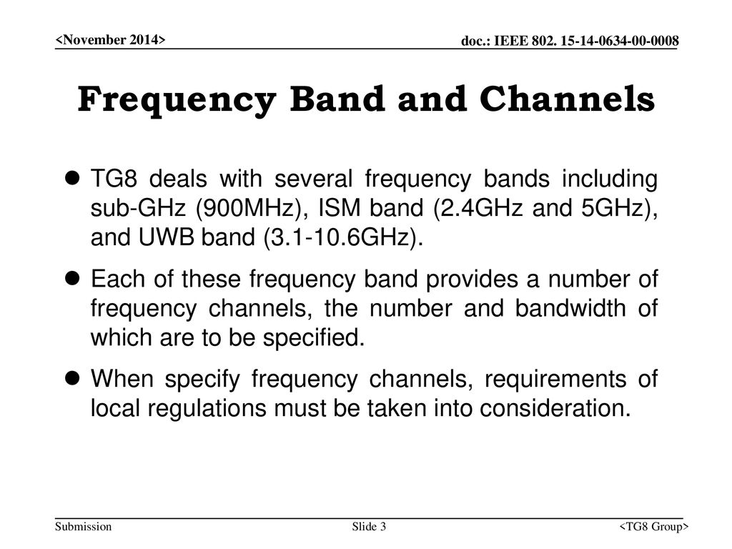 Frequency Band and Channels