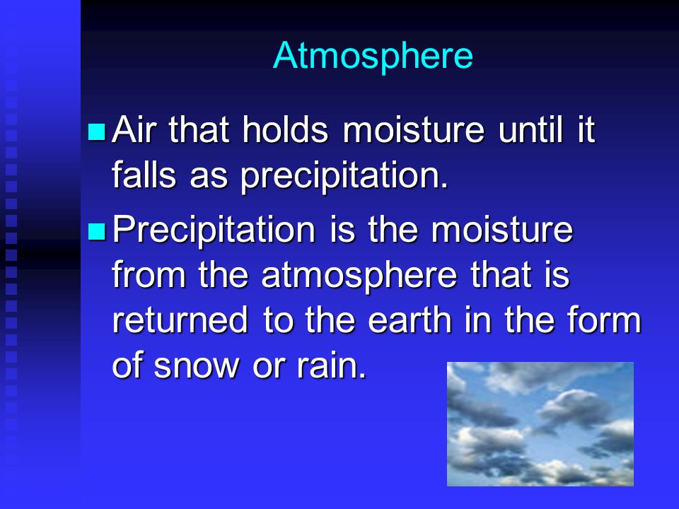 Atmosphere Air that holds moisture until it falls as precipitation.