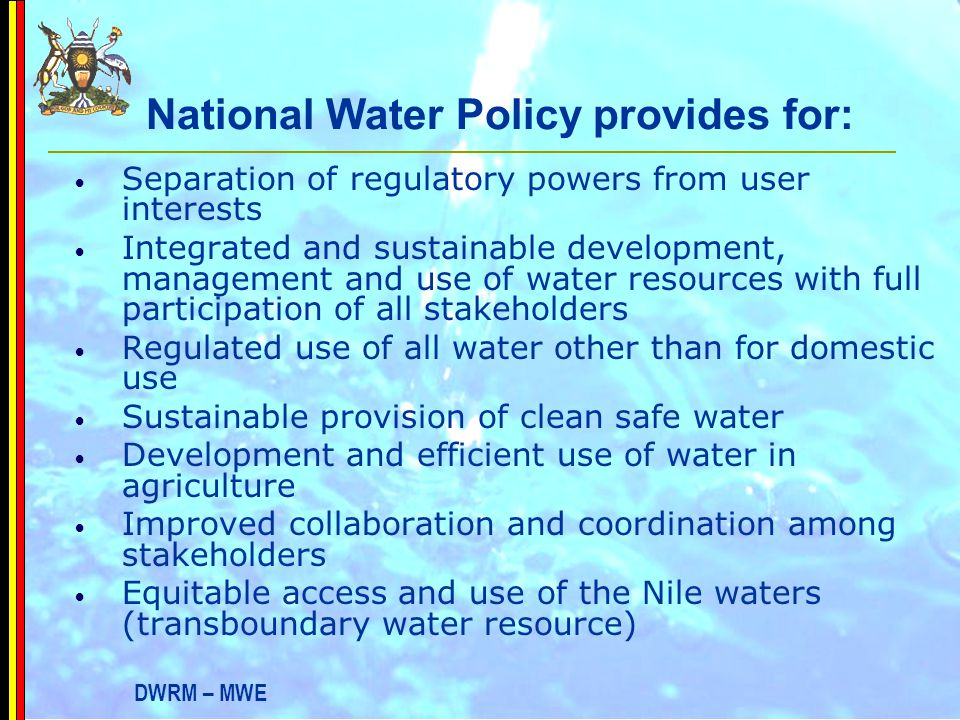 National Water Policy provides for: