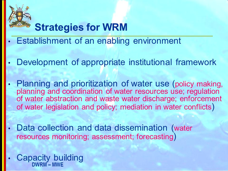 Strategies for WRM Establishment of an enabling environment