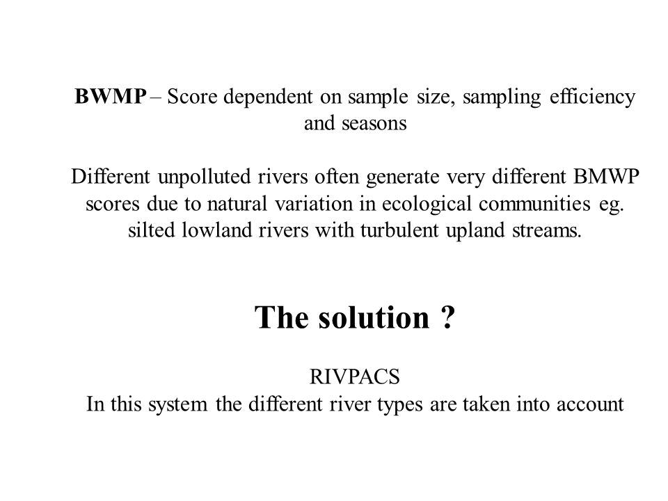 BWMP – Score dependent on sample size, sampling efficiency and seasons