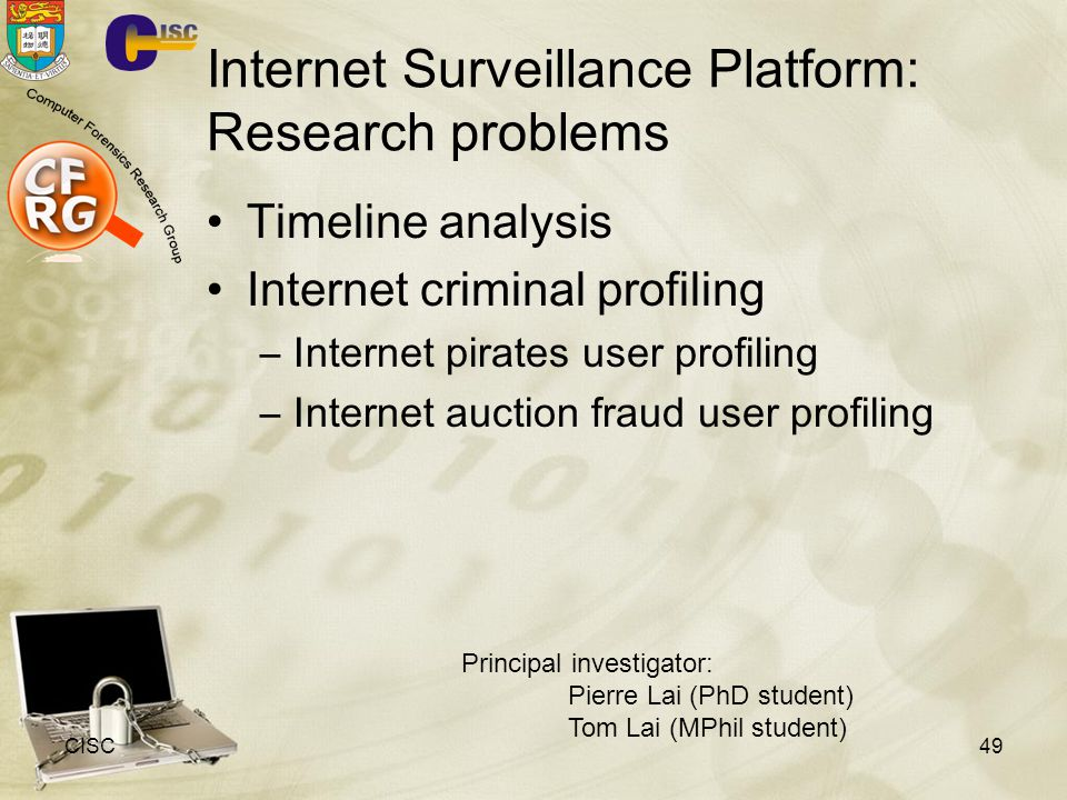 Internet Surveillance Platform: Research problems