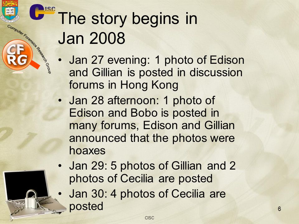 The story begins in Jan 2008 Jan 27 evening: 1 photo of Edison and Gillian is posted in discussion forums in Hong Kong.