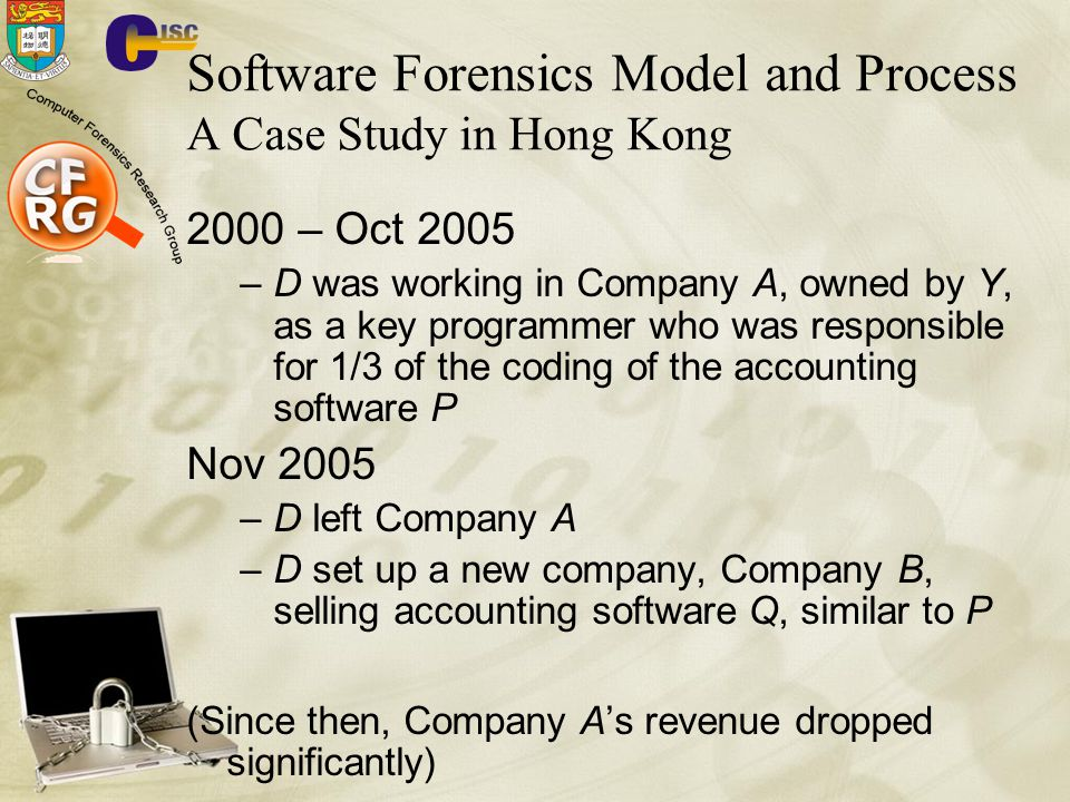 Software Forensics Model and Process A Case Study in Hong Kong