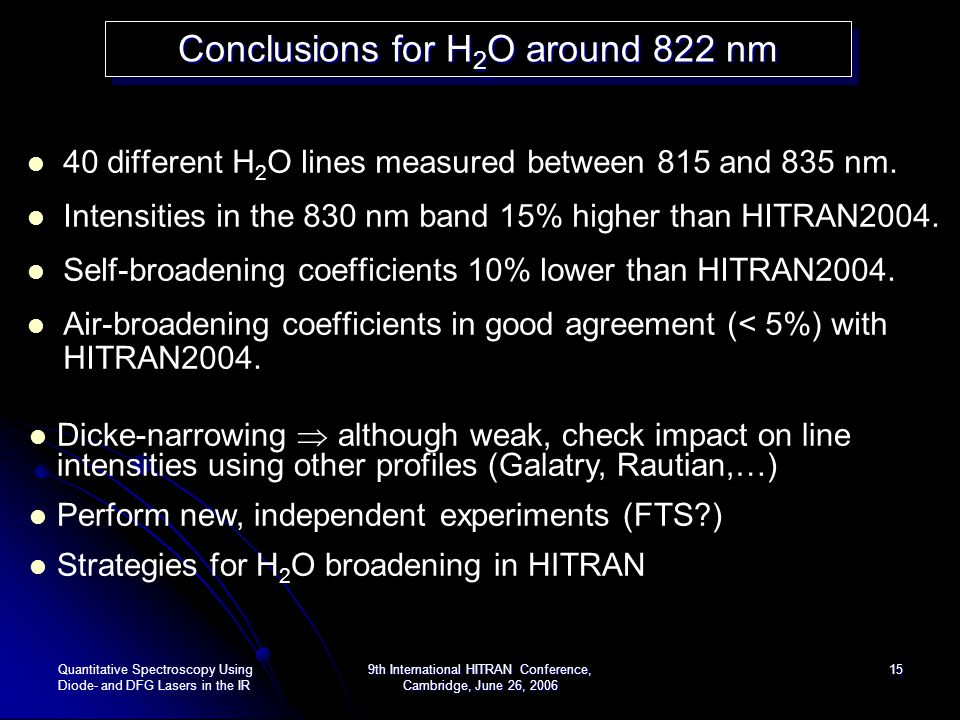 Conclusions for H2O around 822 nm