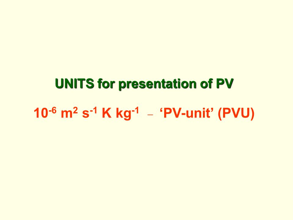 UNITS for presentation of PV