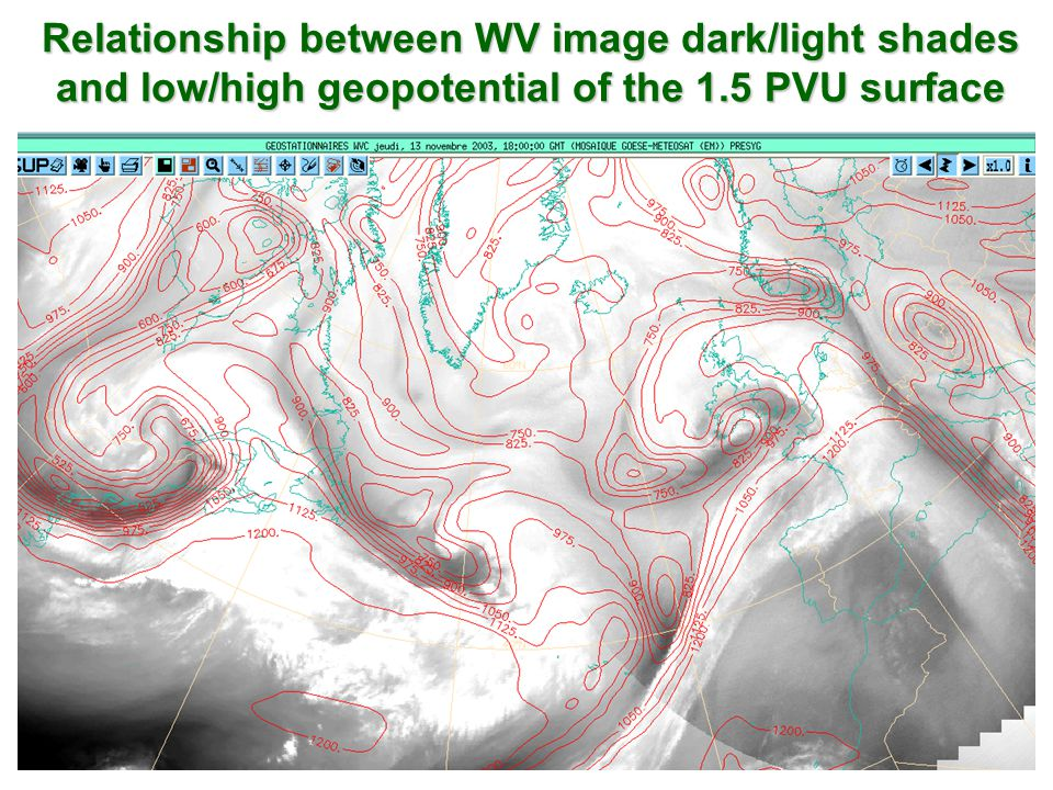Relationship between WV image dark/light shades and low/high geopotential of the 1.5 PVU surface