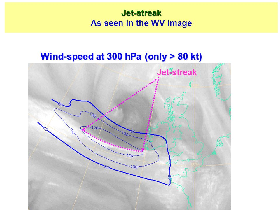 Wind-speed at 300 hPa (only > 80 kt)