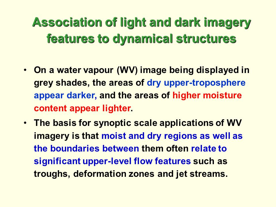 Association of light and dark imagery features to dynamical structures
