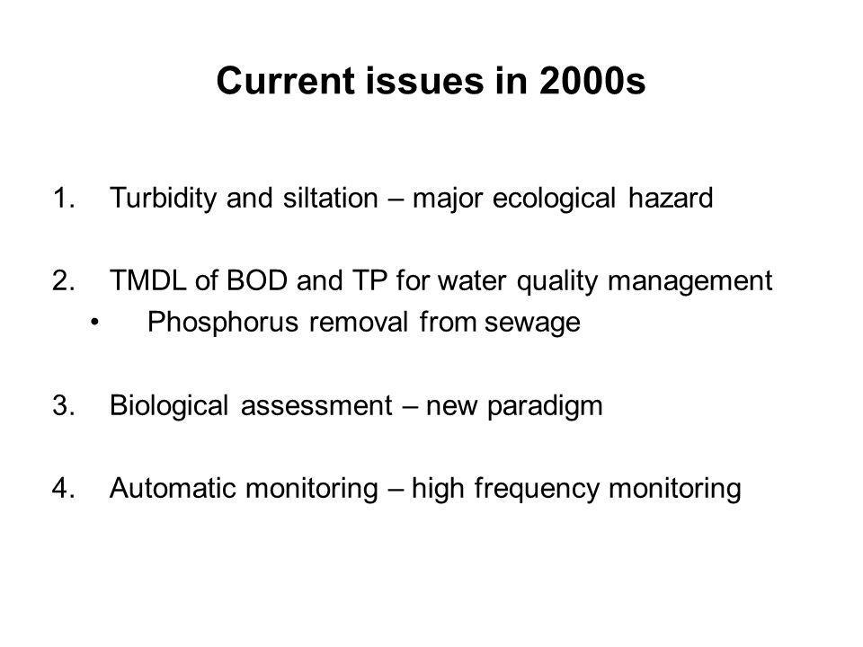 Current issues in 2000s Turbidity and siltation – major ecological hazard. TMDL of BOD and TP for water quality management.
