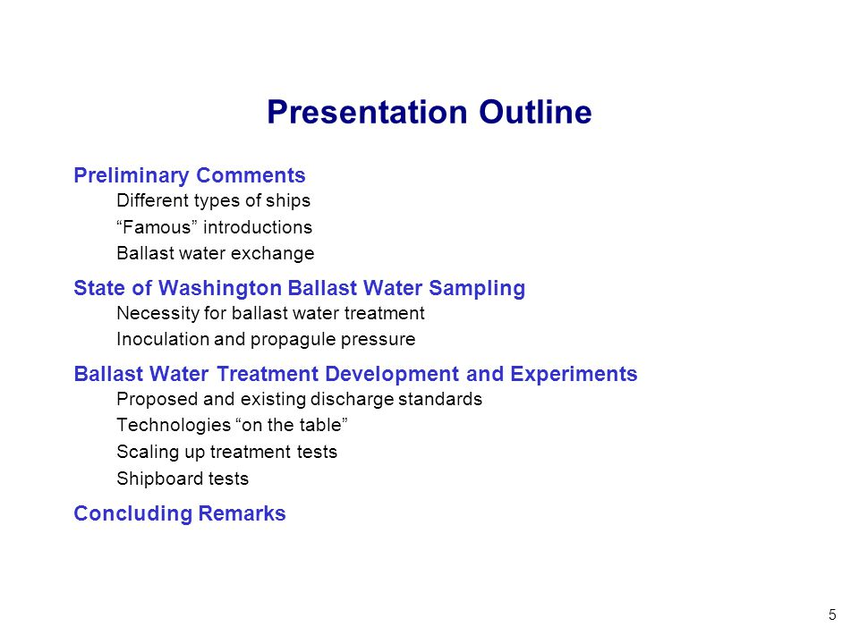 Presentation Outline Preliminary Comments