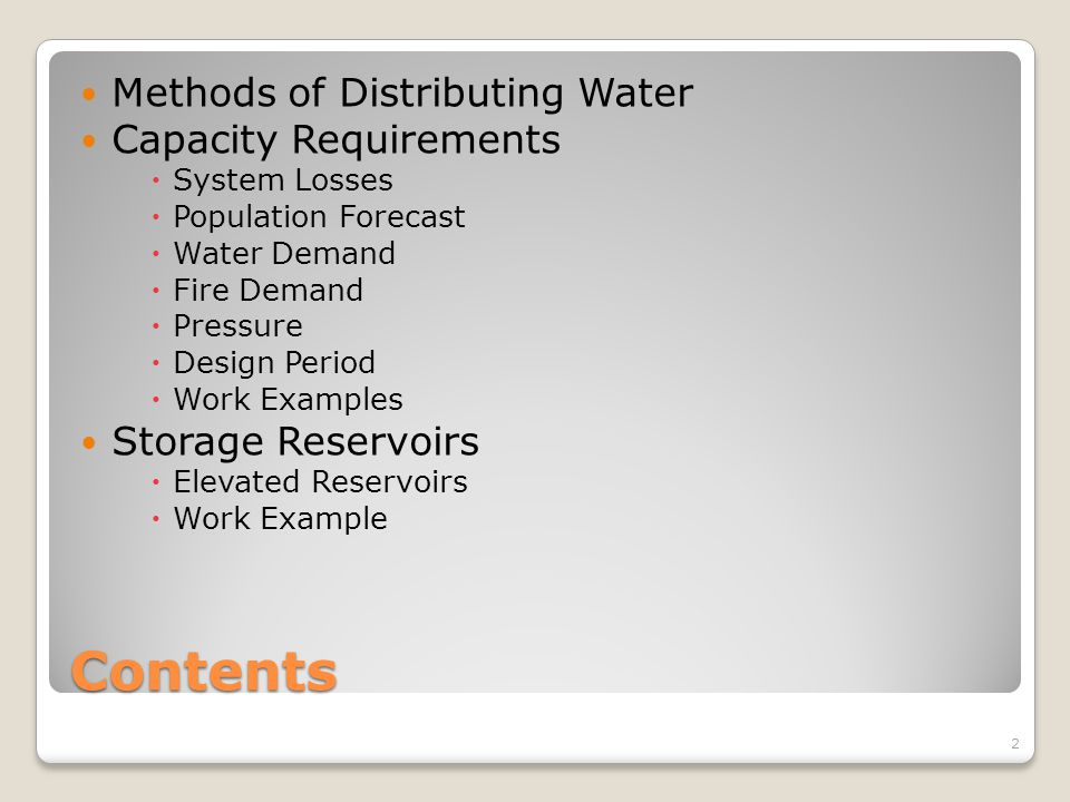 Contents Methods of Distributing Water Capacity Requirements