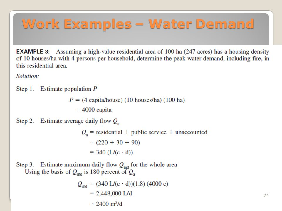 Work Examples – Water Demand