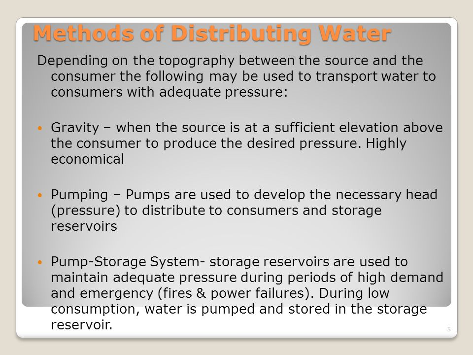 Methods of Distributing Water