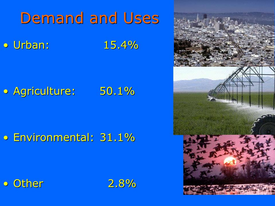 Demand and Uses Urban: 15.4% Agriculture: 50.1% Environmental: 31.1%