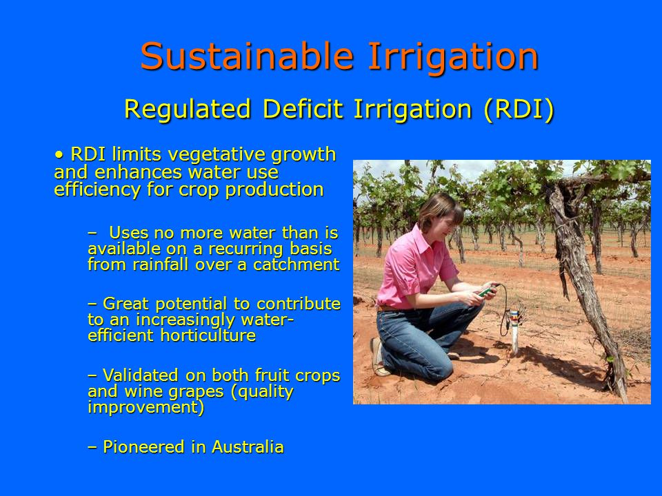 Sustainable Irrigation Regulated Deficit Irrigation (RDI)