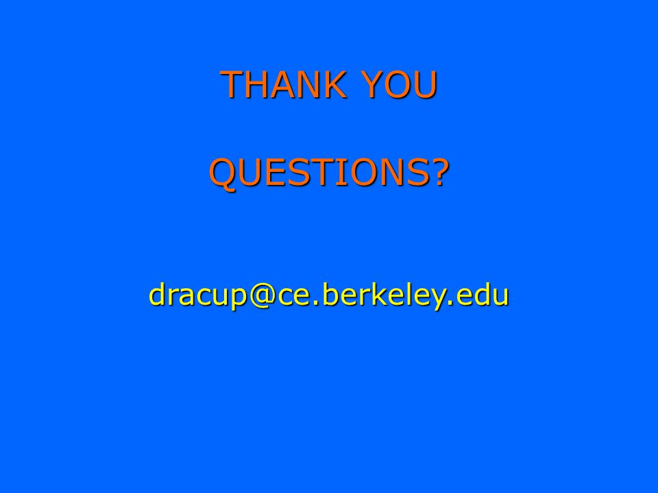 THANK YOU QUESTIONS dracup@ce.berkeley.edu