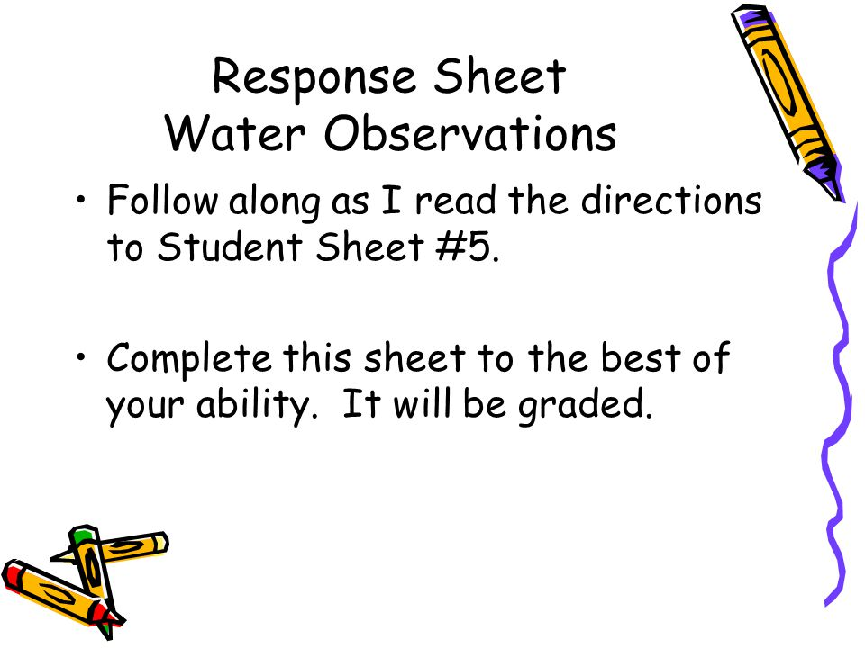Response Sheet Water Observations