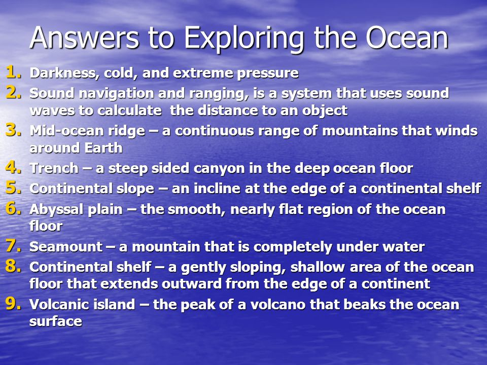Answers to Exploring the Ocean
