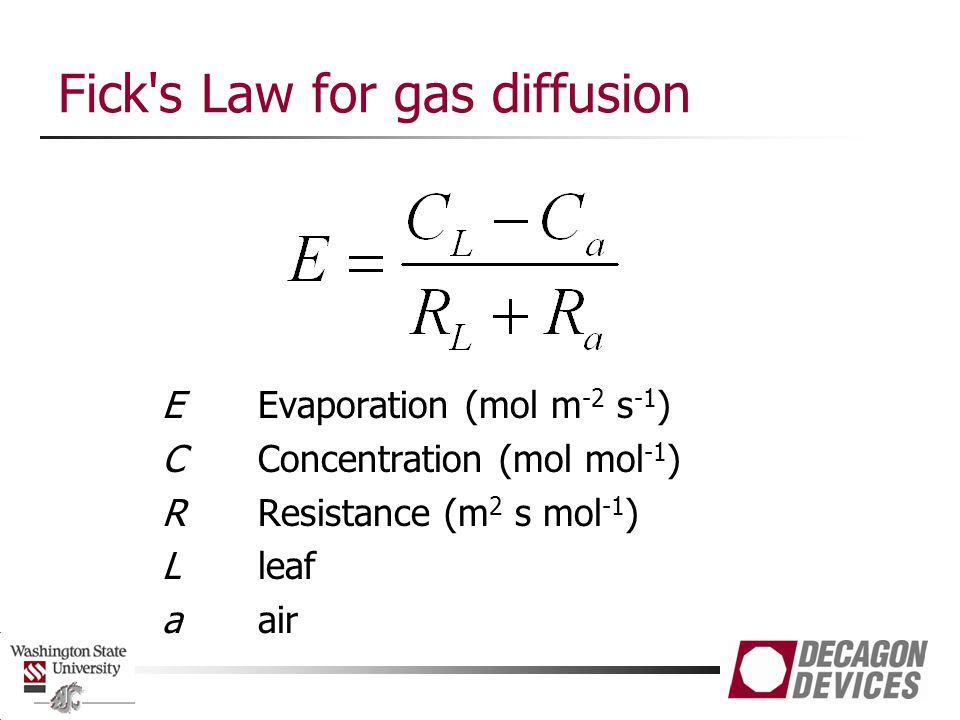 Fick s Law for gas diffusion