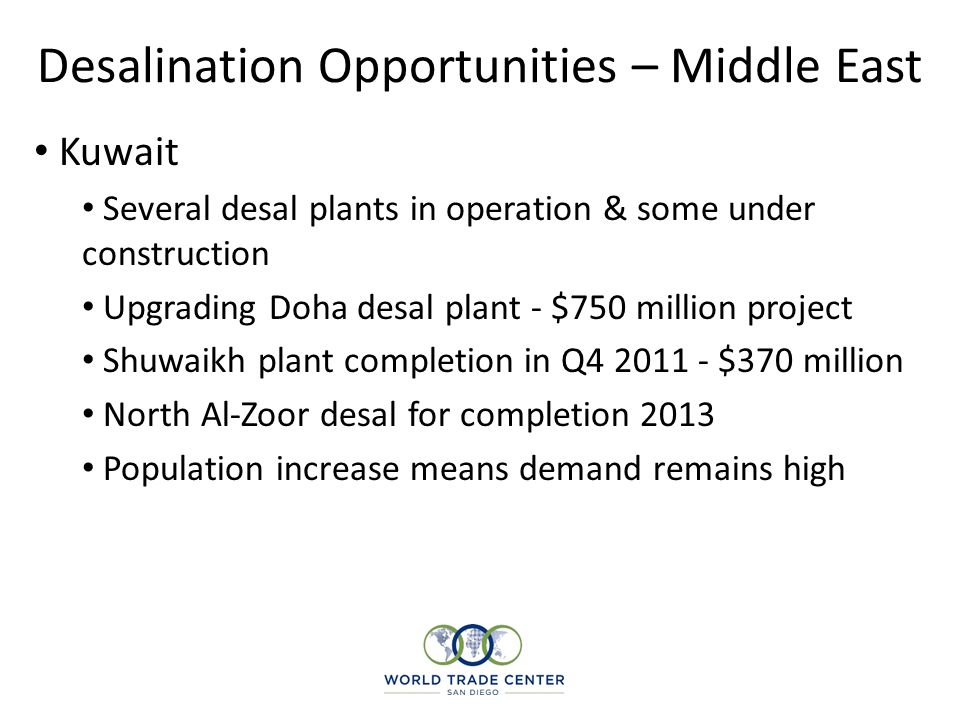 Desalination Opportunities – Middle East