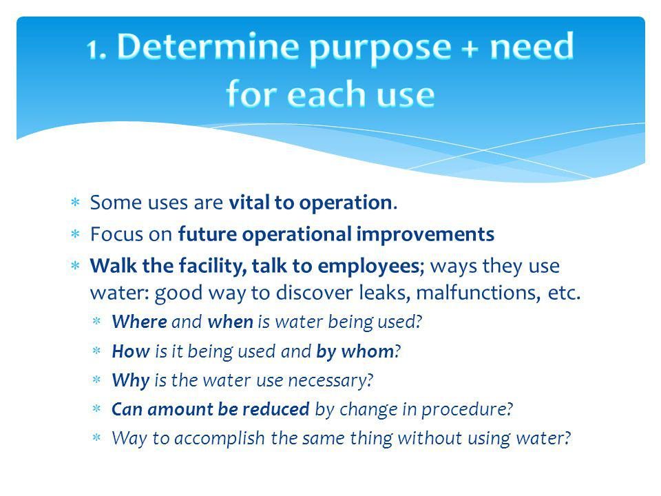 1. Determine purpose + need for each use