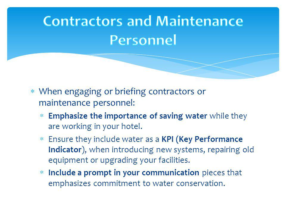 Contractors and Maintenance Personnel