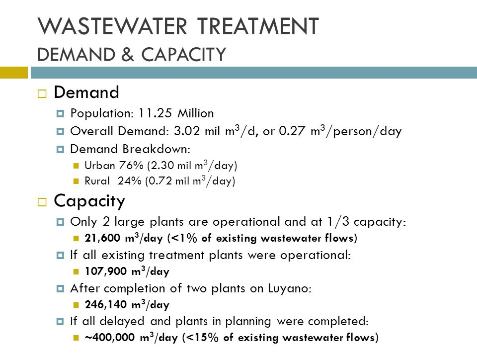 WASTEWATER TREATMENT DEMAND & CAPACITY
