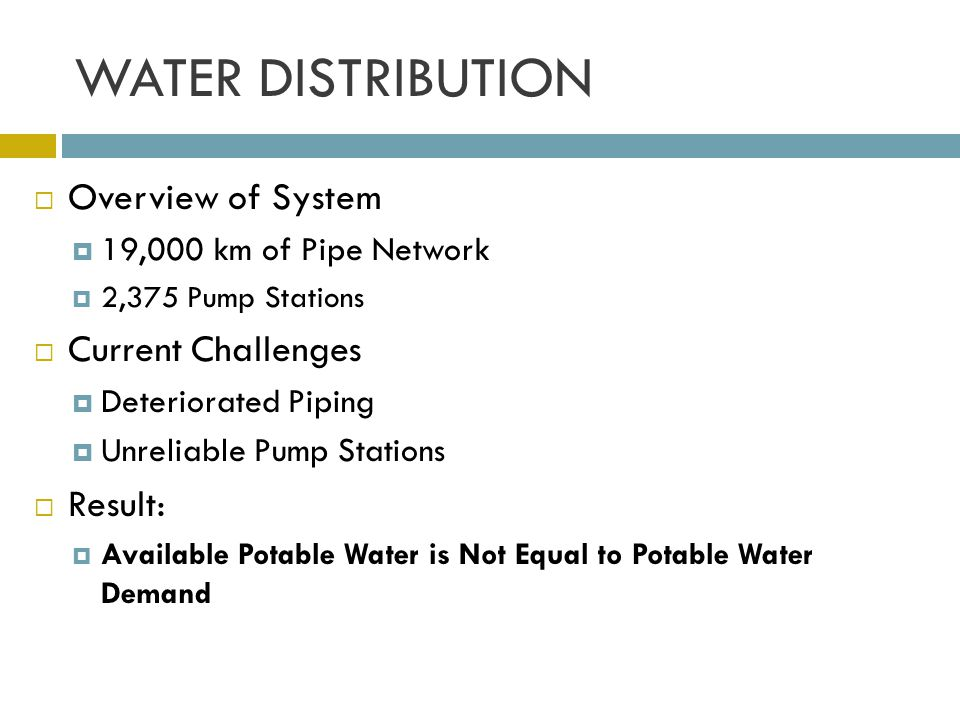 WATER DISTRIBUTION Overview of System Current Challenges Result:
