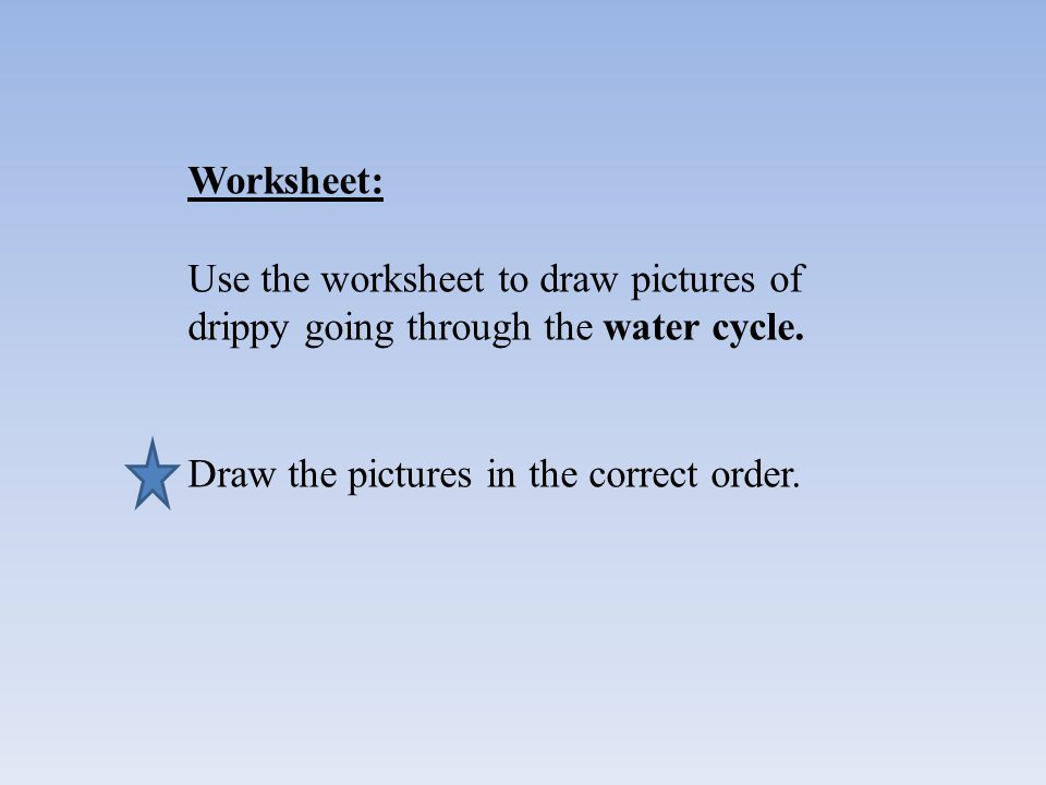 Worksheet: Use the worksheet to draw pictures of drippy going through the water cycle.