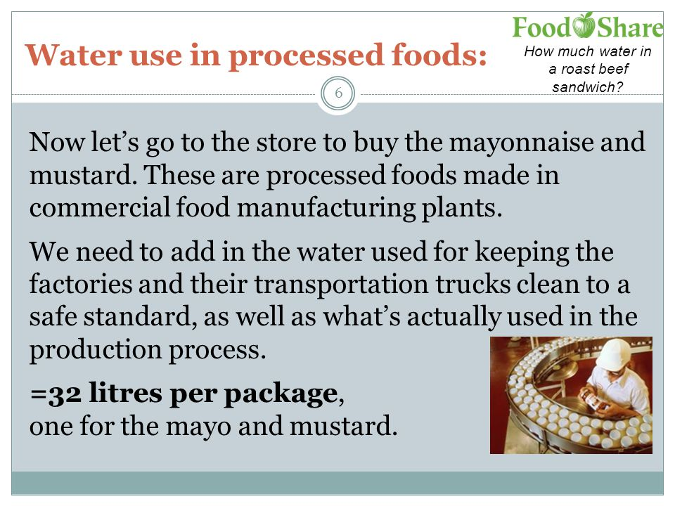 Water use in processed foods: