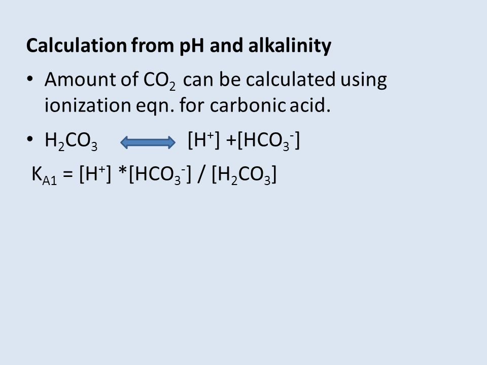 Calculation from pH and alkalinity