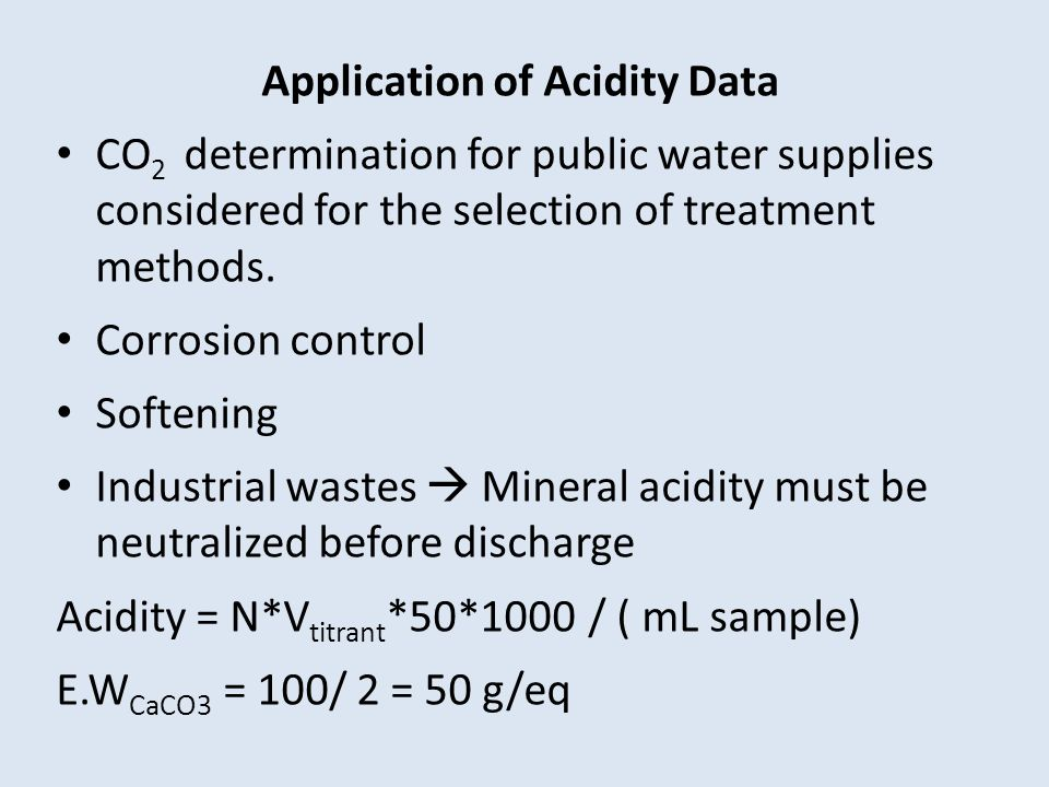 Application of Acidity Data