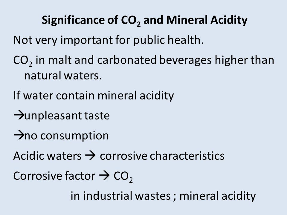 Significance of CO2 and Mineral Acidity